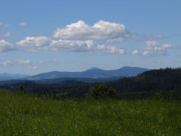 Z Przełęczy Zubrzyckiej w stronę Gór Choczańskich